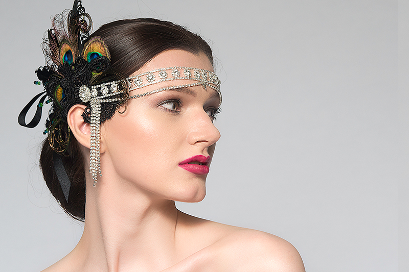 1920s Style Headpiecs, Flapper Headbands, Downton Abbey Gatsby Party wear, Peacock and Crystal Headbands