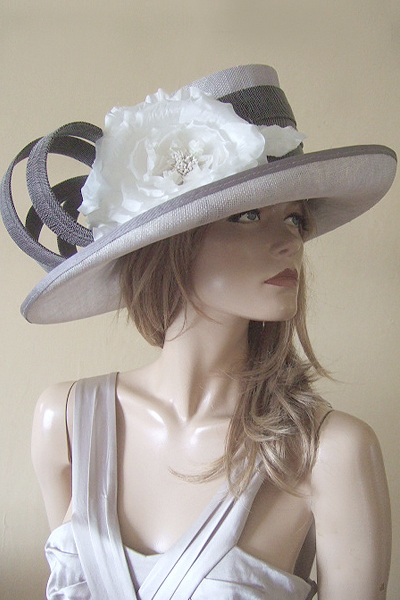 Silver and Grey Hat for Ascot, Epsom. Hat for the Races. Mother of the Bride Hats