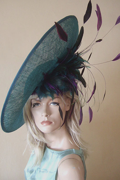 Teal Purple Headpiece for Hire. Ascot Hat Hire. Hire Hat for Ascot. London Hat Hire. www.dress-2-impress.com.