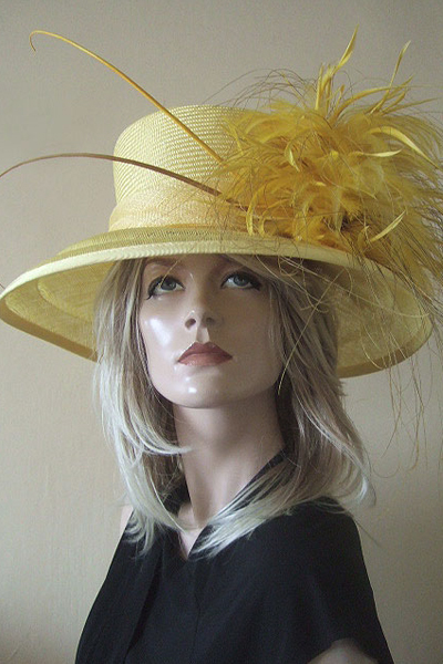 Yellow Hat for Hire. Hat Rental for Royal Ascot, Mother of the Bride Hats